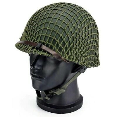 £57.97 • Buy WWII US Army M1 Green Helmet With Canvas Net Chin Strap Replica Tactical Hat Cos