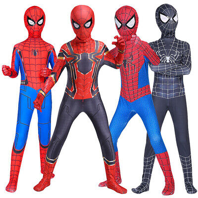 Kids Boys Spider-Man Super Hero Cosplay Costumes Fancy Dress Jumpsuit Outfit Set • 23.65£