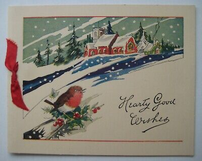 $ CDN7.99 • Buy Vintage Christmas Card Winter Snow English Robin Red Ribbon Tie At Side 1950's