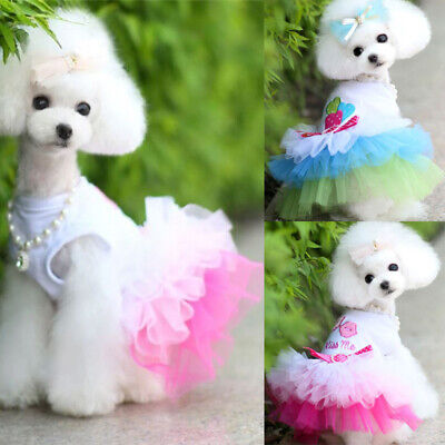 Cute Dog Tutu Dress Bow Lace Skirt For Pet Puppy Dog Cat Clothes Costume Wedding • 2.17£