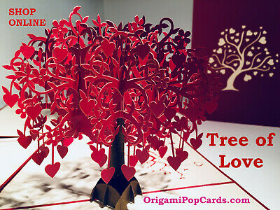 AU14.95 • Buy Origami Pop Cards Tree Of Love Hearts 3D Pop Up Greeting Card Birthday Valentine