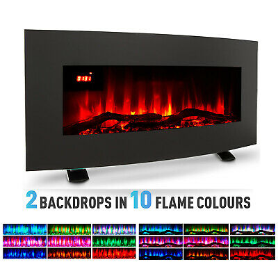 35'' 1800W Electric Heater Fireplace Wall Mounted Freestanding 10Flame W/ Remote • 129£