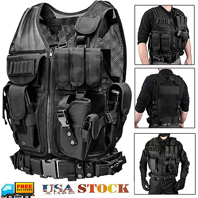 $31.99 • Buy Tactical Vest Military Gun Holder Molle Police Airsoft Combat Assault Gear USA