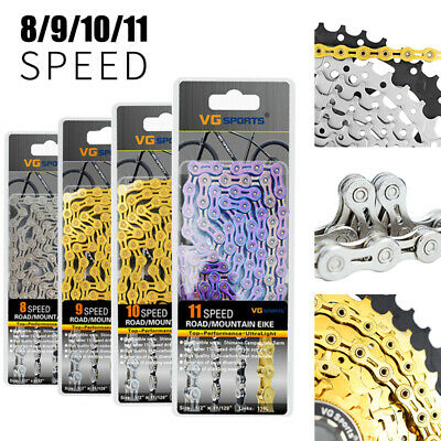 AU25.49 • Buy 6-7-8/9/10/11 Speed Bicycle Chain Half-Hollow 116 Links For MTB Road Bike Chains