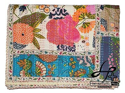 Cotton Kantha Quilt Handmade Bedspread Indian King Ralli Patchwork Lace Coverlet • 48.60£