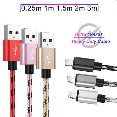 Heavy Duty For IPhone IPad Lead USB Fast Charge Charger Cable 2m 3m Extra Long • 2.68£