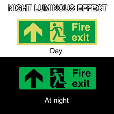 8x Fire Exit Sign,Luminous Sticker,Emergency,Escape,Fire Drill,Guidance Signage • 9.39£
