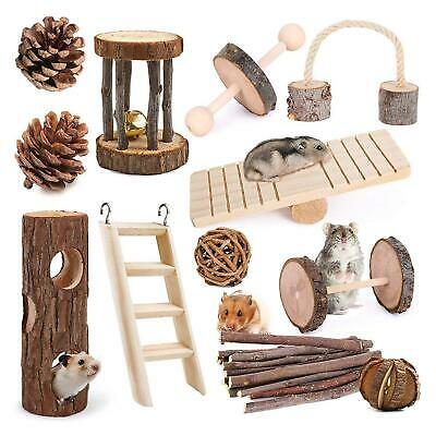 £15.96 • Buy Pet Playground Natural Small Animal Toys Accessories Wooden Treat Mouse Hamster