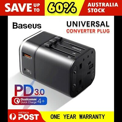 AU25.95 • Buy Baseus PD 18W USB + Type-C Universal Travel Adapter Power Plug Charger Converter