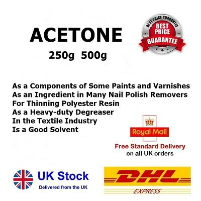 £11.99 • Buy ACETONE 99.5% Pure 250ml 500ml * Nail Polish Remover Solvent Degreaser FREE POST