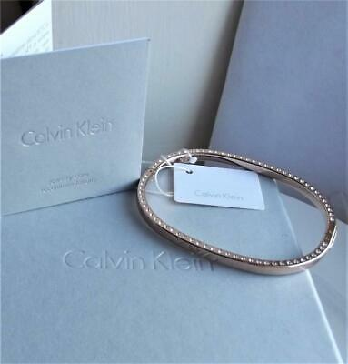 Calvin Klein Rose Gold Plated Stainless Steel Clear Crystal Bangle Bnwt Rrp £119 • 44.99£