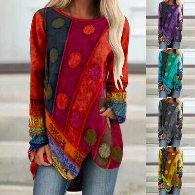 UK Womens Long Sleeve Hippie T Shirt Ladies Loose Boho Casual Tunic Tops Jumper • 8.69£