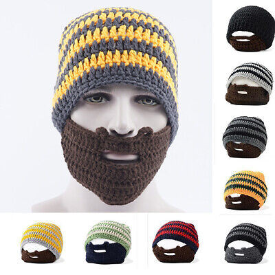 Beanie Hat With Detachable Novelty Beard Hat Face Cover Winter Warm Ski Knit Hat • 4.99£