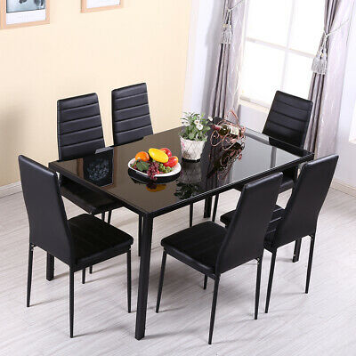 £199.90 • Buy Black Glass Dining Table And 6 Chairs Faux Leather Set Dinning Room Kitchen NEW