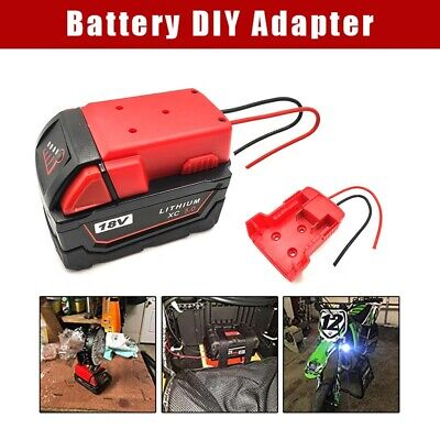 Battery Adapter For Milwaukee M18 Battery XC 18V To Dock Power DIY 2 Wire Output • 10.49£