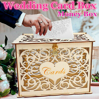 £13.49 • Buy Wooden Wedding Card Box Collection Gift Card Post Boxes Weddings Decor With Lock