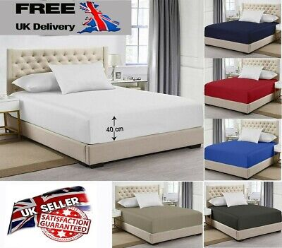 £2.79 • Buy 40CM EXTRA DEEP Fitted Sheet Single Double Super King Bed And Pillow Covers