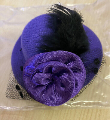 £1 • Buy Clip In Hair Accessory - Purple Mini Burlesque Hat With Vail Feather & Rose
