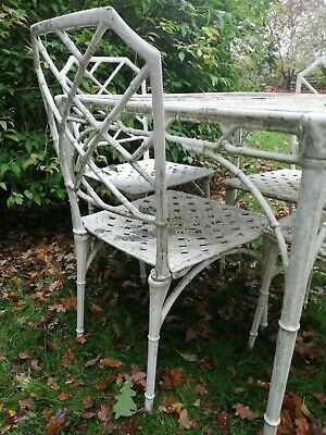 Chippendale Hollywood Regency Faux Bamboo Garden Table And Chairs Cast Aluminium • 1,000£