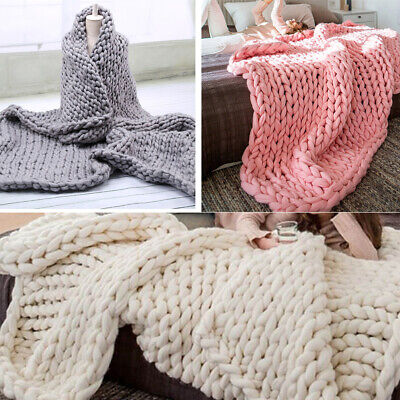£27.95 • Buy Luxury Hand-woven Chunky Cable Knit Sofa Bed Chair Blanket Throw
