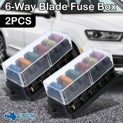 AU17.49 • Buy 2PCS 6 Way Auto Blade Fuse Box Holder Block Panel 12V 24V Car Power Distribution