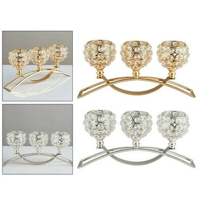 £20.98 • Buy 3 Arms Crystal Candelabra Candle Holders Dining Table Decor Wedding Centerpiece