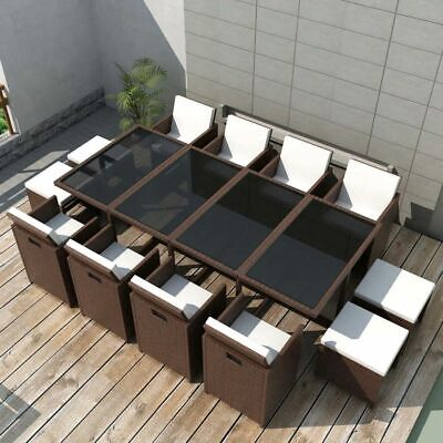 Outdoor 33 Pieces Poly Rattan Dinning Set Brown Patio Garden Furniture Set# Y9M9 • 1,046.99£