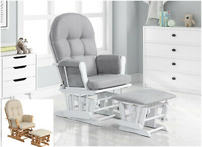 Nursing Glider Maternity Chair With Footrest Baby Rocking Nursery Seat Wood New • 159.99£