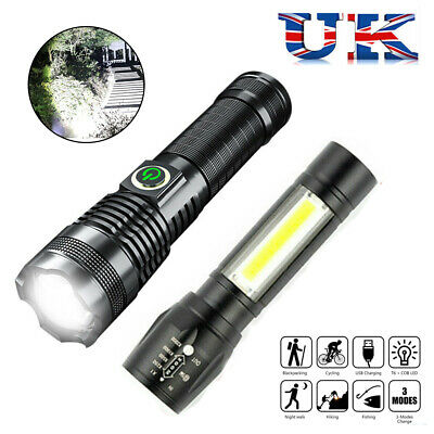USB Rechargeable Torch LED Flashlight USB Zoomable Torch Camping Hiking Lamp UK • 4.75£