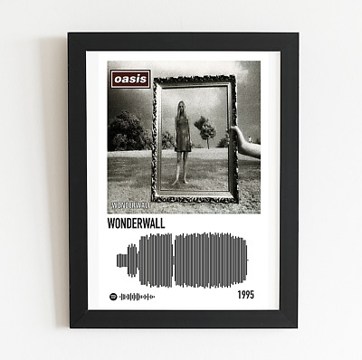Oasis Wonderwall Poster Single Cover Art & Soundwave A3 / A4 Size Valentine Gift • 9.99£