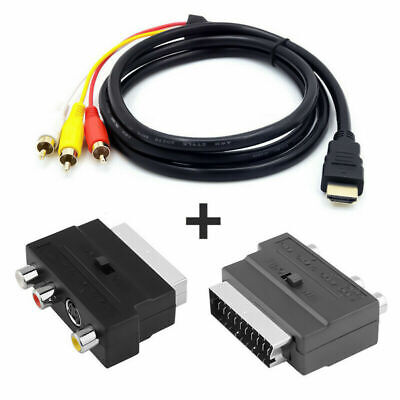 1080P HDMI S-video To 3 RCA AV Audio Cable With SCART To 3RCA Phono Adapter • 5.99£