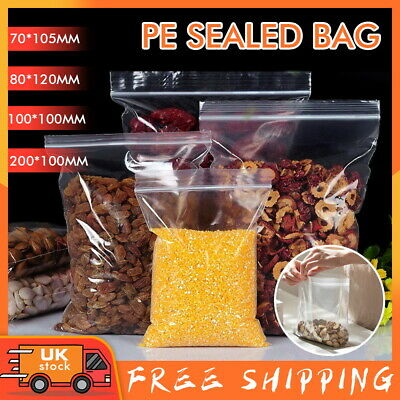 100/200PCS Zip Lock Bags Small Large Clear Plastic Ziplock Bag Sealing Reusable • 3.59£