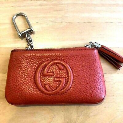AU265.92 • Buy Authentic Gucci Soho Zip Coin Purse Orange Red Case Wallet Pouch Key Ring Gg