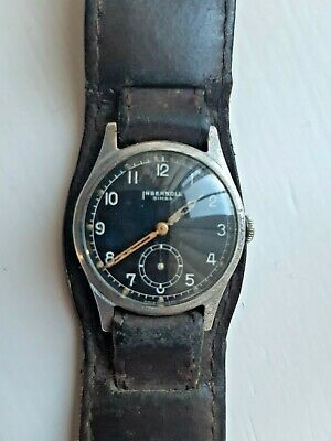 Early Vintage Fix Pin Gents Ingersoll Simba Black Face Military Mechanical Watch • 22£