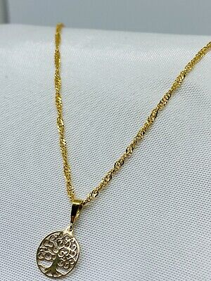 Hallmarked 9K Yellow Gold Tree Of Life Ladies Necklace Chain 18  Brand New 10mm • 89.90£