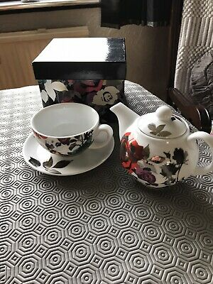 Paperchase Fine Porcelain Tea For One Teapot Cup Saucer Floral • 9£