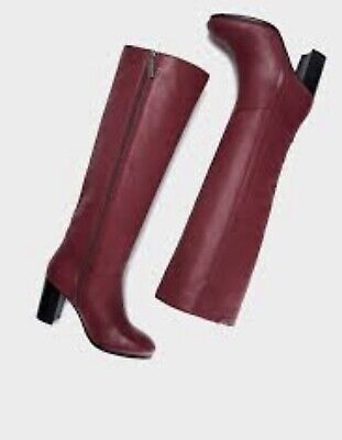 Pepe Jeans High Boots Leather UK6 Size 39 Wine Ruby Heels • 12.70£