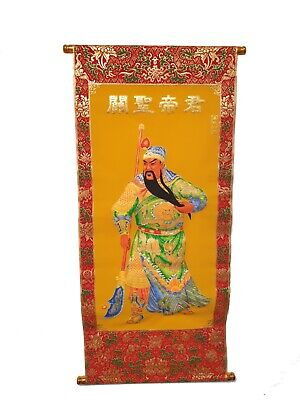 Chinese Feng Shui Red & Gold Velveteen Wall Hanging Scroll Guan Gong • 9.99£