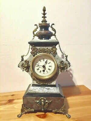 Rare Antique French Vintage Marble Granite Bronze Ornate Slate Mantel Clock  • 155£