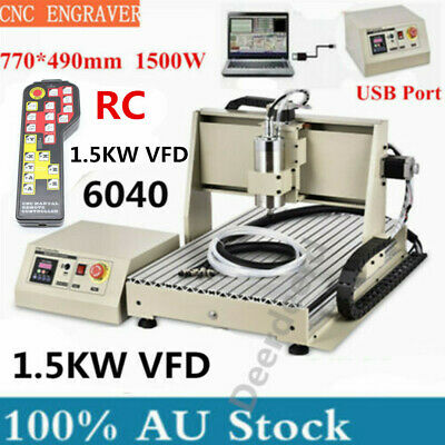AU1260 • Buy USB 3Axis CNC 6040 Router 1500W VFD Engraver Metal/Wood Milling Drill+Controller