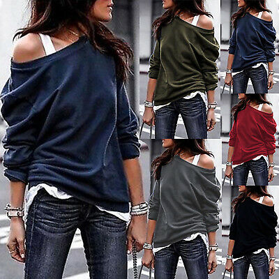Womens Off The Shoulder Jumper Sweatshirt Top Oversized Baggy Blouse Plus Size • 12.29£