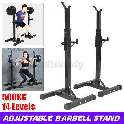 $ CDN107.26 • Buy 2 Pcs Gym Fitness Adjustable Squat Rack Bench Press Weight Lifting Barbell Stand