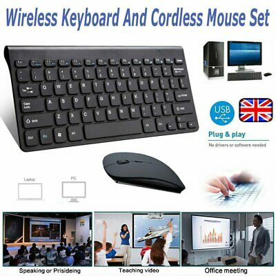 Wireless 2.4GHz Wireless Keyboard And Mouse Set For Computer Laptop Black/White • 12.90£