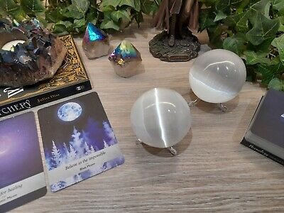 Selenite Crystal Ball / Crystal Sphere With Stand • 12.50£