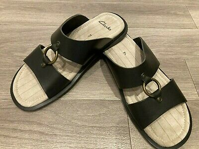 Mens Clarks Casual Summer Leather Mule Sandals Size 7 • 16.99£