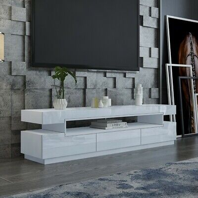 AU239.95 • Buy 200cm TV Stand Cabinet Entertainment Unit High Gloss 3 Push-Opened Drawers White