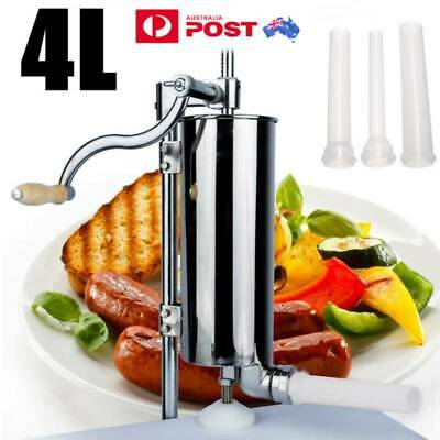AU76.88 • Buy 4L Manual Meat Sausage Filler Stuffer Salami Commercial Machine Stainless Steel@
