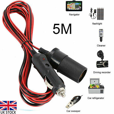 £6.42 • Buy 12V  5M Cars Cigarette Cigar Lighter Extension Cable Adapter Socket Charger Cord