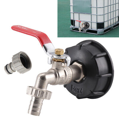 IBC Tank Cap Adapter With Brass Tap & 1/2 Snap Hose Connector IBC Ton Valve  • 9.19£
