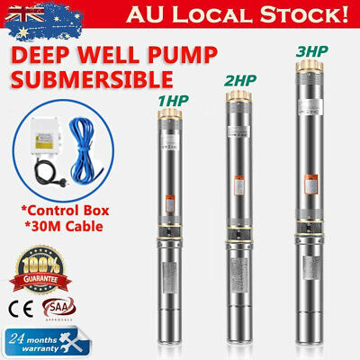 AU250.98 • Buy Submersible Bore Water Pump 0.5/1/1.5/2/3HP Deep Well Irrigation Stainless Steel